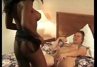 Black whore with amazing tits Karma deep throats white dick in front fucking