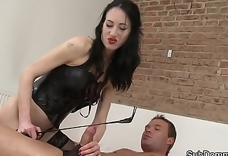 Femdom beauty strapon fucking her submissive