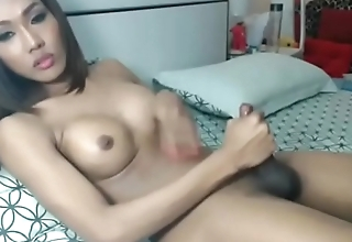 Asian ladyboy shoots a big load on cam
