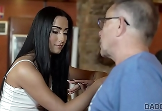DADDY4K. Young girl and boyfriend'_s daddy embark monster sex in bar