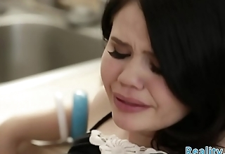 Petite stepdaughter banged in the kitchen