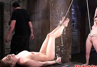 Bondage subs punished while pussylicking