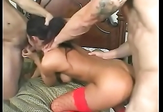 DP queen gets banged and jizzed in MMF threeway while enervating red lingerie