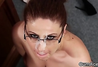 Horny model gets sperm shot on her face eating all the sperm