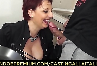 CASTING ALLA ITALIANA - Mature redhead riding chunky cock in her first porn scene
