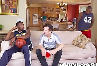 Fat breasted MILF fractured by black basketball players