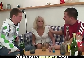 Two buddies fuck stoned old blonde granny