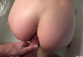 Neighbor unshaded Lexy Fox with big tits are very titillating fucked in bathroom