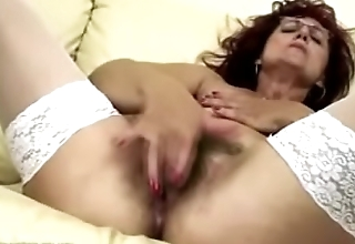 Deep fisting for sexy mature mom'_s hairy pussy