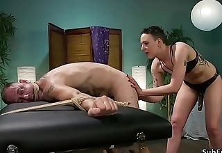 Masseuse gapes and anal fucks dude