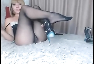 model touch pussy and see paws in seamless pantyhose
