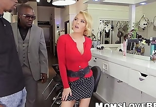 Seductive blonde MILF give big pair double teamed by studs