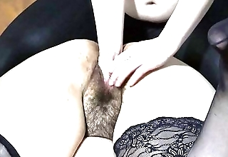 Licking pussy and fisting for a fat girlfriend, hairy gaping hole swallows a fist, homemade lesbian sex.