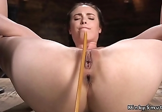 Brunette romp in device pussy caned
