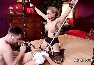 Blonde babes sharing cock in bondage