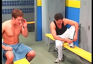 Brown hair student babe gets cum after attractive double penetration in locker room