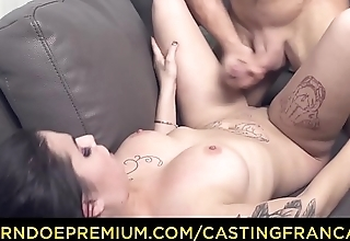 CASTING FRANCAIS - Tattooed Canadian honey dick riding in first porn scene