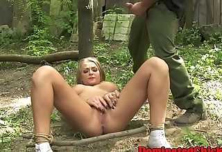 Outdoors fucked sub gets fingered