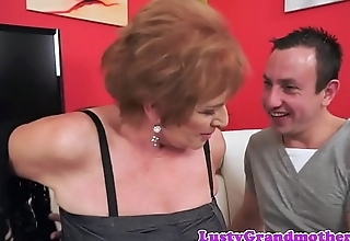 Alluring chubby granny rides fat cock