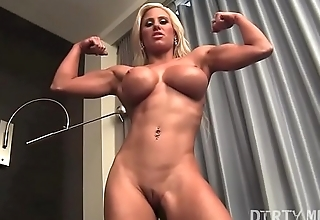 Suitability Muscle Carve Blonde Plays With Her Ass and Pussy