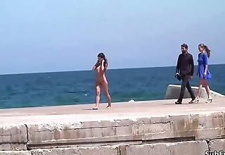 Bare Spanish slave walked on streets