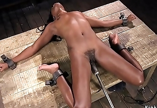 Ebony dizzy and machine fucked