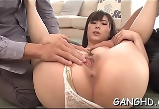 Beautiful oriental achives multiple orgasms during wild threesome
