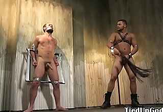 Suspended sub flogged and dicksucked by hunk