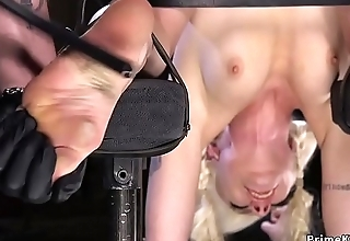 Hot blonde slave gets brutal subjugation