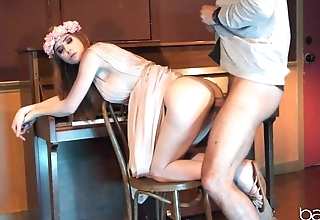 Red-haired hippie girl penetrated with teacher's rod