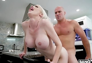 Cock-hungry blonde MILF gets fucked in the kitchen