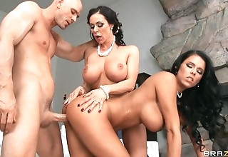 Lucky stud copulates with two fantastic brunettes