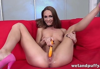Hungry for cocks MILF impales long dildo into cunt