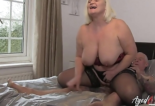 Mature BBW in lingerie enjoys mighty cock of a hunk