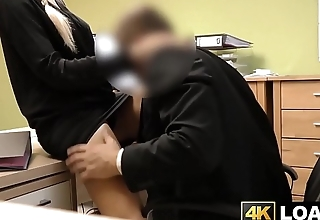 Beautiful future debtor putting into play cock before getting fucked
