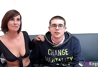 Young guy meets his idol Natalia and is deflowered by her