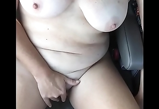 Real Amateur Housewife Vandalization And Masturbating Atop The Interstate For Truckers