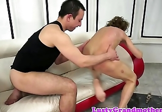 Hairy granny buttbanged by younger chap